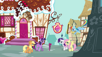 Pinkie Pie's friends gathering outside Sugarcube Corner S4E18