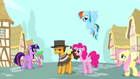 Pinkie and friends with Cheese Sandwich S4E12