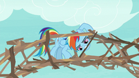 Rainbow making a bridge out of branches S8E9