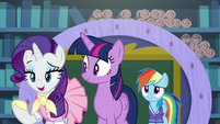 Rarity mentions Dash's Wonderbolts practice S8E17