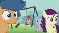 Students watch Pipsqueak; one of them on a swing S5E18