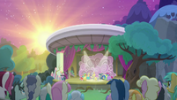 Sun rising over the theater S8E7