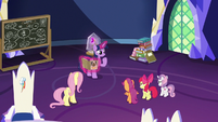 Twilight, Fluttershy, and CMC in the castle S9E22