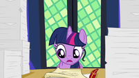 Twilight Sparkle reading the scroll S7E22