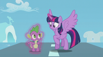 Twilight and Spike safely on the ground S5E25