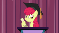 Apple Bloom wearing a graduation cap S9E22