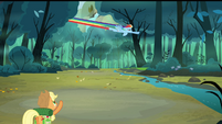 Applejack pointing at Rainbow flying S3E06