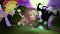 Applejack runs toward a spooky tree S5E21
