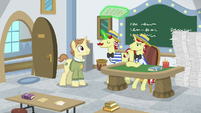 Flam gives worksheet to Destitute Pony S8E16
