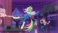 Fluttershy catches Rainbow with her tambourine EG2