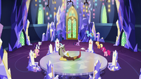 Mane Six, Spike, and Discord in throne room S9E1