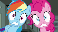 Rainbow Dash and Pinkie Pie in complete shock S7E18