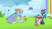 Rainbow Dash pulling Scootaloo aside S7E7