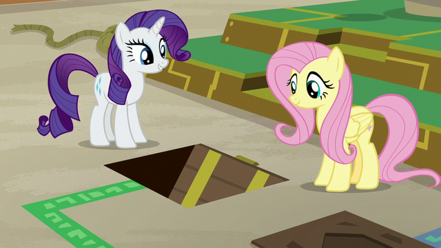 File:Rarity and Fluttershy see floor hatch open S7E2.png
