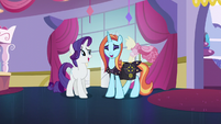 Rarity and Sassy Saddles laughing together S5E14