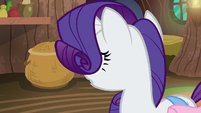Rarity looking at the wicker basket S8E11