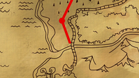 Red path on a map leading to Southern Equestria S7E18