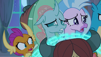 Smolder, Ocellus, and Silverstream aghast S8E25