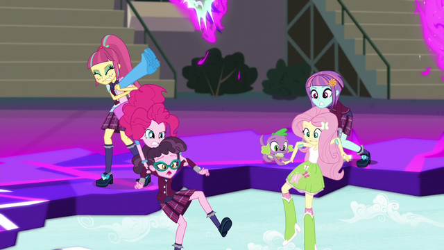 File:Sour Sweet saves Pinkie Pie and another Shadowbolt; Sunny Flare and Puppy Spike save Fluttershy EG3.png