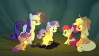 The pony sisters sit around the campfire S7E16