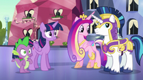 Twilight and Cadance look toward Flurry Heart S6E16