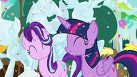 Twilight and Starlight smiling happily S7E15