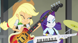 Applejack and Rarity squinting EG2