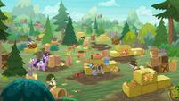 Elder ponies having a fruit-tossing war S9E5