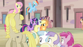 Fillies walking past the mane six S5E1.png