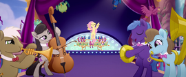 Fluttershy and orchestra on the stage MLPTM