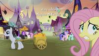 Fluttershy nervously wandering Ponyville S5E21