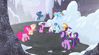 Mane Six and village ponies group laugh S5E2