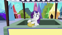 Rarity frantically crafting basket S3E02