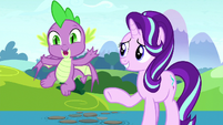 Spike shouting goodbye to Rarity S8E15