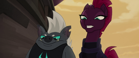 Tempest Shadow and Grubber looking down MLPTM