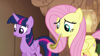 Twilight and Fluttershy wait for the cure to work S7E20