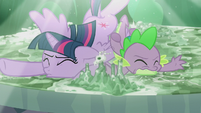 Twilight and Spike fall onto the Cutie Map S5E25