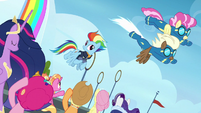 Wonderbolts fly over Rainbow and friends S9E26