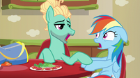 Zephyr puts his hoof on Rainbow's hoof S6E11