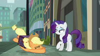 Applejack collapses after crossing the street S5E16
