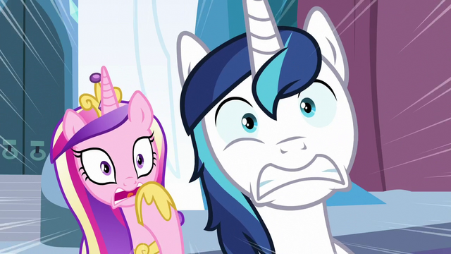 File:Cadance and Shining Armor shocked S6E2.png