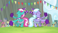 Cloudsdale cheerleaders cheering for Ponyville S4E10.png