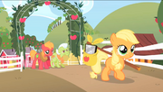 Filly Applejack leaving Sweet Apple Acres S1E23