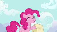 Pinkie Pie holding up scroll S4E09