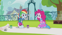 Rainbow and Pinkie making a banner EG2