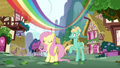 Rainbow streaks over Fluttershy and Zephyr S6E11.png