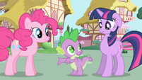 Spike tells Twilight to try talking to Pinkie S1E01