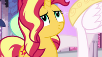 Sunset smiling at Princess Celestia EGFF