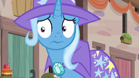 Trixie awkwardly looking at the villagers S6E25