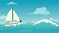 Twilight's boat sails toward a tidal wave EGDS18